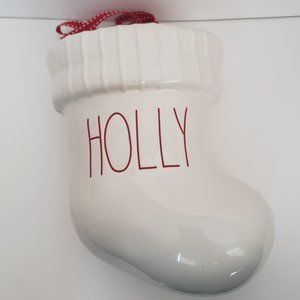 Rae Dunn HOLLY Boot ChristmasStocking Wall Planter